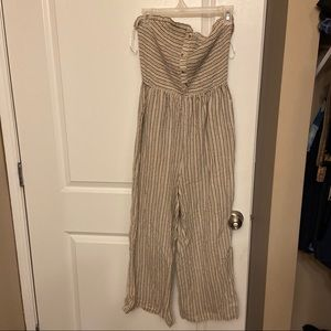 BOUTIQUE STRAPLESS JUMPSUIT- OATMEAL